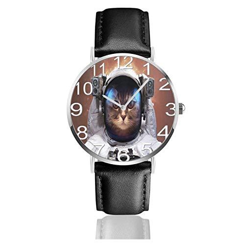 Reloj de Pulsera Cat Astronaut Space Durable PU Correa de Cuero Relojes de Negocios de Cuarzo Reloj de Pulsera Informal Unisex