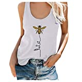 Limsea Women's Sleeveless Tank Tops Tie Dye/Sunflower Graphic Tees Summer Loose Fit Yoga Athletic Workout T-Shirts