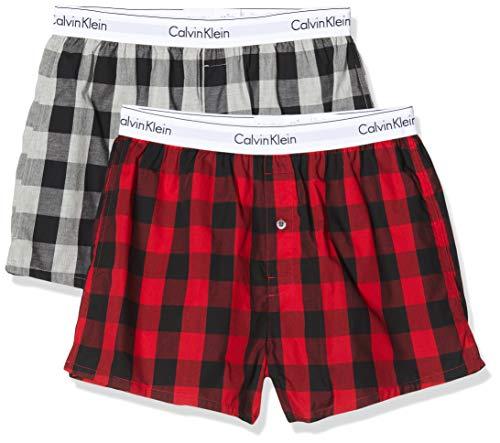 Calvin Klein Herren Boxer Slim 2PK Boxershorts, Rot (Buffalo Check Temper/Grey Heather MWY), Large (Herstellergröße:L) (2er Pack)