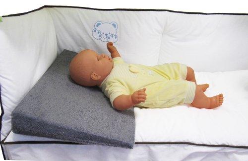 Plan incliné en tissu éponge Gris déhoussable pour lit bébé