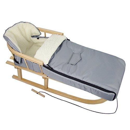 BAMBINIWELT Kombi-Angebot Holz-Schlitten mit Rückenlehne & Zugseil + universaler Winterfußsack (108cm), auch geeignet für Babyschale, Kinderwagen, Buggy, aus Wolle Uni (hellgrau)