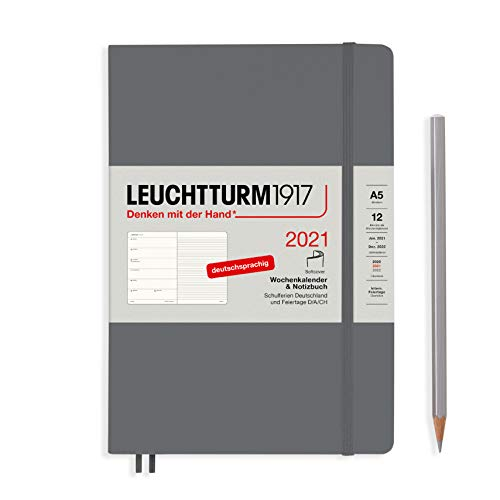LEUCHTTURM1917 Wochenkalender & Notizbuch 2021 Softcover Medium (A5), 12 Monate, Anthrazit, Deutsch