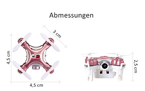 Cheerson MINI FPV WIFI Drohne /real-time Video&Foto / 6-Achse / 1-Key Takeoff / Landing/ Kopflosmodus / HD Kamera / Height Hold / 3D Flying (Rosy Red)