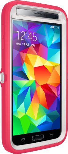 Otterbox Defender Series Samsung Galaxy S5 Case - Frustration Free Packaging Protective Case for Galaxy S5 - Neon Rose (Whisper White/Blaze Pink)