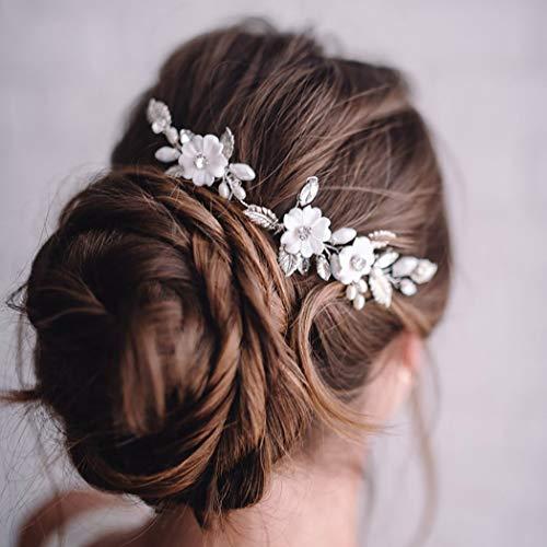 Zoestar Blumen-Braut-Haarnadeln, silberne Perlen, Kopfschmuck, Kristall-Haarspangen, Braut-Haarschmuck für Frauen und Mädchen (2 Stück)