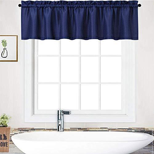 LinTimes tende a riquadro tende da cucina con coulisse, tende a riquadro stile casa di campagna, mantovana cortina corta tende Cáfe tende da bistrot per nessuna finestra,1 pezzo, 152x38 cm, blu marino