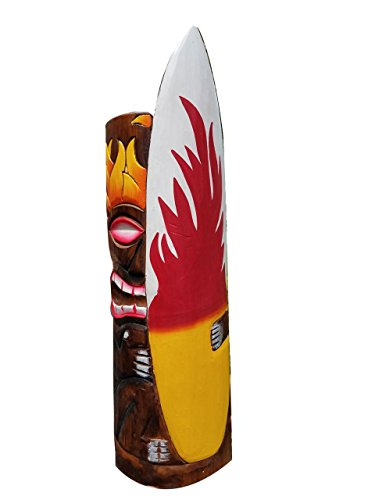 All Seas Imports 20' Handcarved Wood Tiki Mask with Surfboard & Flames Tropical Hawaiian Design!