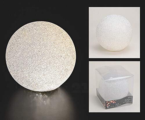 matches21 LED Leuchtkugeln Leuchtball mit Timer LED Warmweiß Kunststoff Batteriebetrieben – 20 cm – weitere Größen zur Auswahl