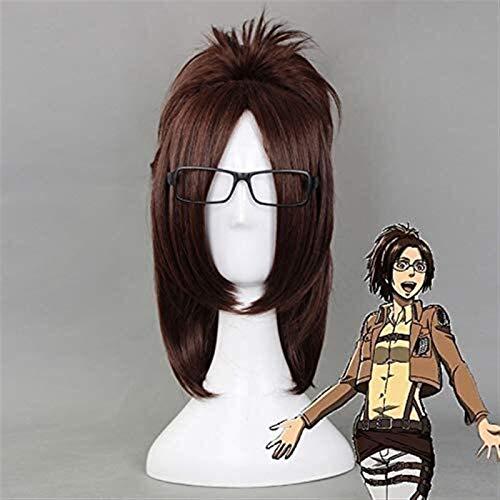 Jsmhh Ataque en Titn Hange Zoe 40cm recta corta de Cosplay pelucas for mujeres falso Mujer de pelo animado universal for la fiesta del casquillo de Brown peluca +