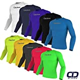 Didoo pour Homme Manche Complet Compression Couches de Base Haut Athlétisme Coupe Étroite Entrainement Fitness Long T-Shirts pour Vêtements de Sport - Jaune, Medium