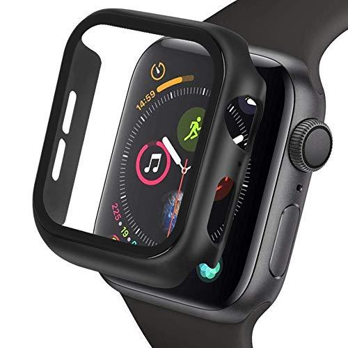 omitium per Apple Watch Serie 4/5 44mm Case, Custodia Protezione Schermo Apple Watch Serie 4/5 44mm PC Cover [Copertura Completa] Pellicola Vetro iwatch Serie 4/Serie 5 44mm Case, Nero