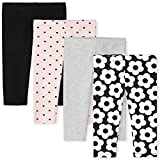 The Children's Place Baby and Toddler Girl Print Knit Leggings 4-Pack, Black, 5T