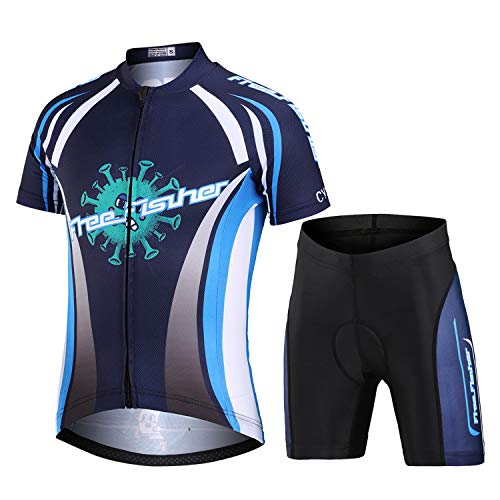 L PATTERN Niños Niñas Maillot Camiseta de Ciclismo Manga Corta/Pantalones Cortos de Bicicleta/Traje de Ciclismo Conjunto de Maillot y Pantalones Cortos Transpirable Secado Rápido, Azul Negro, L