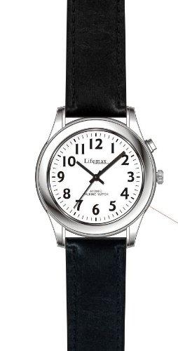 LifeMax Damen Analog-Quarz-Uhr mit Lederband, 407,2, Radio Controlled Genauigkeit, automatischer Einstellung Funktion, spricht Aloud Uhrzeit und Datum, stündliche Zeitanzeige, inklusive Batterie