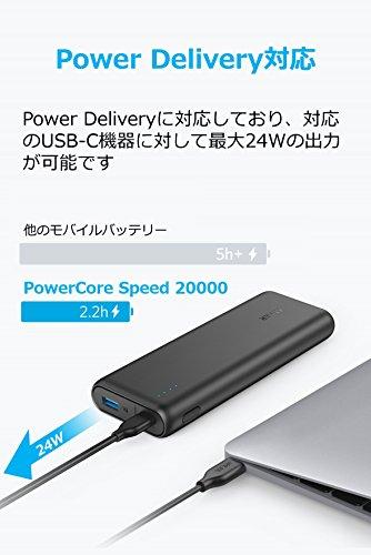 Anker PowerCore Speed 20000 PD (20100mAh 超大容量モバイルバッテリー)【PSE認証済 / 最軽量 / Power Delivery対応 / USB-C急速充電器付属】iPhone & Android対応 *2020年12月時点(ブラック)