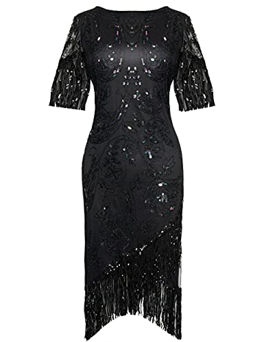 BABEYOND 1920s Flapper Dress Great Gatsby Fringed Sequins Dress for Prom Party (Black Colorful, XL)