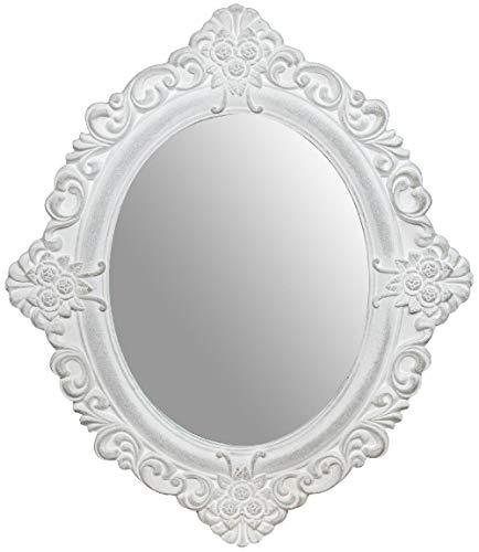 Biscottini Specchio Specchiera da Appendere 50x2x58 cm in Legno Finitura Bianco Anticato