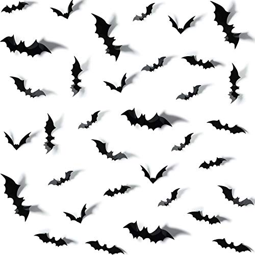 Outus 132 Pieces/ 4 Sizes 3D Bats Sticker DIY Halloween Party Supplies Reusable Window Decorations Scary Wall Decal for Home Bathroom Indoor Clings Decorations