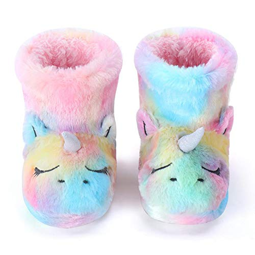 Dream Bridge Zapatillas de Felpa para Niñas Botas de Peluche para Chicas Unicornio Multicolor, 33.5/35 EU(1/2 talla fabricante)