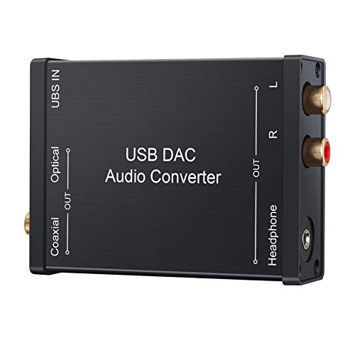 LiNKFOR USB DAC Audio Konverter mit 3,5mm Kopfhörer USB Audio Soundkarte USB zu Koaxial S/PDIF Konverter Digital zu Analog Signal Kompatibel mit Windows XP, Mac OS-X, PS4, PS3