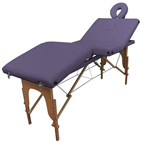 Table de massage Bois Pliante 4 zones livrée avec accessoires - Revêtement violet - Qualité CE - Garantie 2 ans - Utilisation professionnelle ou personnelle. Satisfait ou remboursé. Achat groupé revendu à l'unité pour un prix compétitif.