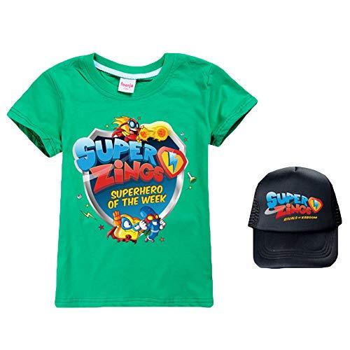 Ukgjhejjh Superzings Maglietta Manica Corta Tempo Libero Girocollo Estate T-Shirt + Bello del Movimento Berretto da Baseball Ragazzo e Ragazza (Color : A23, Size : 140)