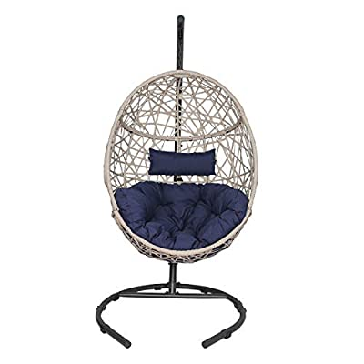 Outdoor Patio Wicker Hanging Basket Swing Chair Tear Drop Egg Chair with Cushion and Stand (Navy)