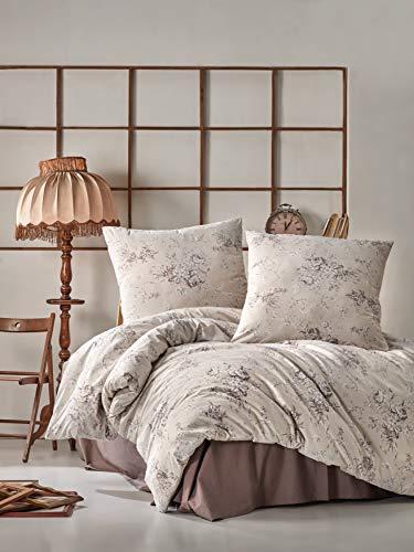 ZIRVEHOME Baumwolle Bettwäsche 135x200 cm. 4 teilig, Beige/Braun Blumen Muster, 100% Baumwolle/Renforcé, Bettbezug Set, Verdeckter Reißverschluss, 2 mal Kissenbezuge 80x80 cm. Model: Este V1