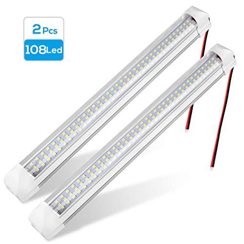 Innen LED-Lichtleiste (2 Packungen) 12V 72LED LED-Lichtleiste mit separatem EIN-Aus-Schalter für Auto Van Bus Wohnwagen LKW Wohnmobil Bootsraum Wohnmobil Reise Frachtanhänger Weißes Licht