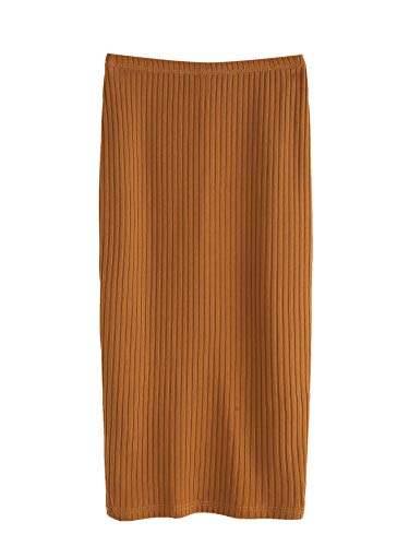 SheIn Women's Basic Plain Stretchy Ribbed Knit Split Full Length Skirt Camel Small