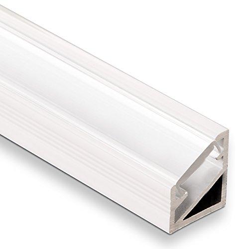 3 Stück LED Profil-66 Eckprofil weiß mit opaler Abdeckung 2000 x 14,5 x 16,5 mm von SO-TECH®