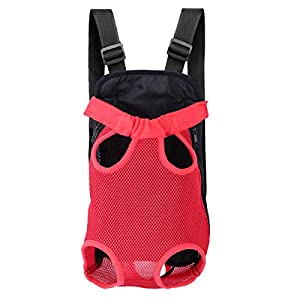 Szxc Pet Carrier Backpack Front Pack for Small to Medium Dog Cat Puppy – Legs & Tail Out – Adjustable Shoulder & Chest Strap – for Hiking Travel Bike Motorcycle (Small,Red)