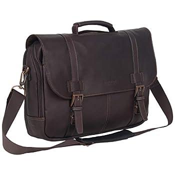 "KENNETH COLE REACTION Show Business Messenger Briefcase Colombian Leather 16"" Laptop Computer Portfolio Satchel Work Bag Dark Brown One Size"