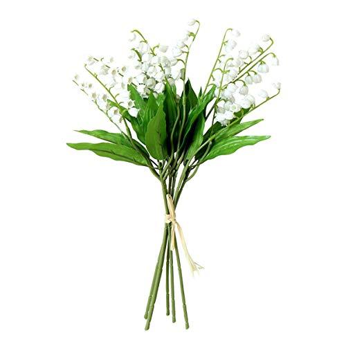6PCS Artificial Lily of The Valley Flowers Arrangement Bundle for Wedding Bouquet Home Decor Garden Decoration White Wedding Artificial Flowers