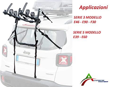 Fietsendrager gemonteerd en gebruiksklaar (3 fietsen) voor achterdeur of kofferbak, speciaal voor 3-serie model E46 - E90 - F30, 5-serie model E39 - E60