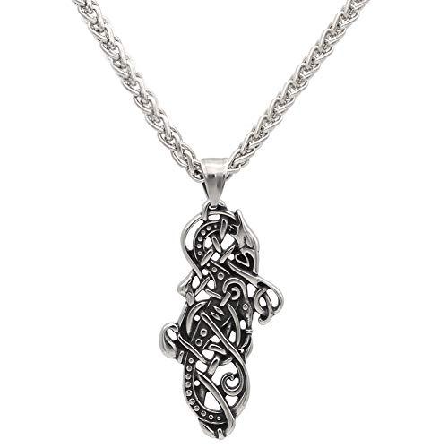NICEWL Viking Stainless Steel Celtic Dragon Colgante Collar para Hombres, Serpientes Nórdicas Pagano Amuleto Joyería, Encanto Vintage Suéter Clavicle Cadena Accesorios