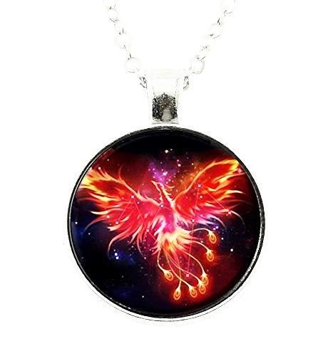 Phoenix ketting - cabochon - vrouw - feniks - afbeelding - sterrenbeeld - vogel - zilver - origineel origineel cadeau-idee - kerstmis - origineel cadeau-idee - sieraden - verjaardag
