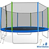 Merax 14 FT Round Trampoline with Safety Enclosure, Ladder and 8 Wind Stakes, Fast Assembly Outdoor Trampoline for Kids