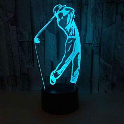 3D Illusion Lampe Thema Golf LED Nachtlicht,7-farbige Nachttischlampe mit USB-Fernbedienung für Schlafzimmerdekoration und Kindergeburtstagsgeschenk