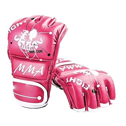 Dljyy – Guantes de boxeo para deportes de lucha, grappling, saco de boxeo UFC, medias para hombres, mujeres, para kickboxing, Sparring (color: rosa, tamaño: M), color rosa, tamaño large
