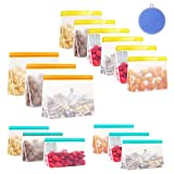 YJHome 15 Pack Stand Up PEVA Food Bags Reusable Snack Bags Sandwich Lunch Bags Leakproof Reusable Storage Bag Freezer Safe BPA Free FDA Food Grade For Kids Snack, Fruit, Meat, Vegetable