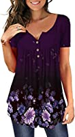MAYAMANG Women's Floral Tunic Tops Casual Blouse V Neck Short Sleeve Buttons Up T-Shirts