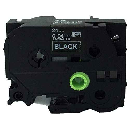 NEOUZA Compatible for Brother P-touch TZe Tz White on Black label tape 6mm 9mm 12mm 18mm 24mm 36mm all size(TZe-355 24mm)