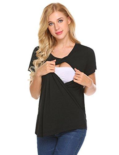 Unibelle Damen Schwanger T-Shirt Umstandsmode Stillshirt Umstandsshirt Mutterschaft Umstandstop mit Rundhalsausschnitt Dunkelgrau S, Schwarz