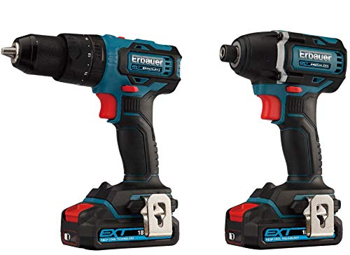 UKB Erbauer EXT 18V 2Ah Li-ion Cordless Brushless Low Battery Indicator Carry Case Combi Drill & Impact Driver EID18-Li