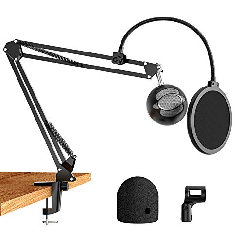 AMADA Microphone Stand Blue Snowball Mic Stand with Yeti Mic Pop Filter for Blue Snowball Mic, Blue Yeti, Suspension Scissor Boom Mic Stand for All Other Microphones -AMMS03