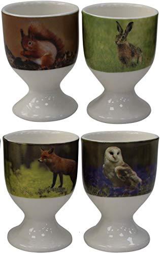Leonardo Collection Eierbecher aus feinem Porzellan, Motiv Wildlife Collection 4 Stück