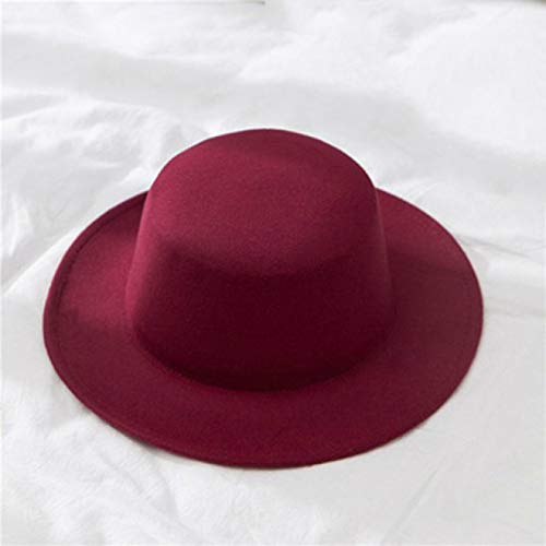 HENGYUSM Sunhat Classic Solid Color Fedoras Hats Female Lady Wide Brim Flat Top Jazz Cap Bucket Hat Winter Spring Summer