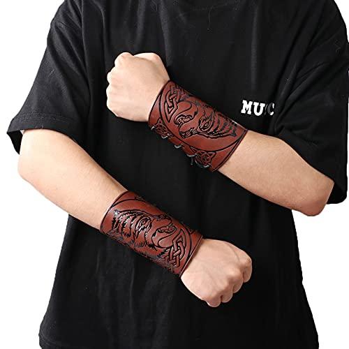 Pulsera de guantelete Vikingo Brazales Vintage Medievales 2 Piezas Arquería al Aire Libre Protectores de Brazo de Cuero Ajustables