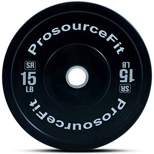 ProsourceFit Solid Rubber Bumper Plates (Sold Individually) with Steel Insert, 15lb, for CrossFit, Power Lifting, Strength Training
